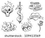 hand drawn tattoos | Shutterstock .eps vector #109413569
