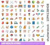100 health icons set in cartoon ... | Shutterstock . vector #1094138408