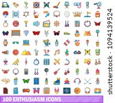 100 enthusiasm icons set in... | Shutterstock . vector #1094139524