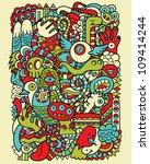 hipster doodle monster collage... | Shutterstock .eps vector #109414244