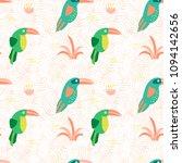 cartoon summer toucan pattern.... | Shutterstock .eps vector #1094142656