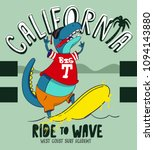 california surf school t rex ... | Shutterstock .eps vector #1094143880