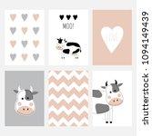 a set of six cute postcards... | Shutterstock .eps vector #1094149439