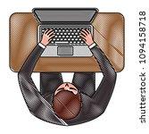 top view of businessman working ... | Shutterstock .eps vector #1094158718