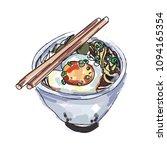 ramen bowl noodles fried egg... | Shutterstock .eps vector #1094165354