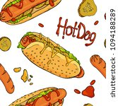 seamless pattern with hot dogs  ... | Shutterstock .eps vector #1094188289