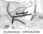 Small photo of Het Knooppunt Watergraafsmeer, busy traffic node in Amsterdam (selective black and white focus).