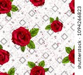 rose and geometric pattern..for ... | Shutterstock . vector #1094266823