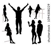vector 7 silhouettes of people... | Shutterstock .eps vector #1094308229