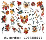 set of decorative flowers and... | Shutterstock .eps vector #1094308916