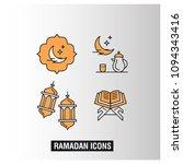ramdan kareem icons set with... | Shutterstock .eps vector #1094343416