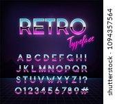 futuristic retro typeface. 80s... | Shutterstock .eps vector #1094357564