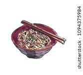 ramen bowl noodles vector.  | Shutterstock .eps vector #1094375984
