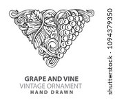 grape. hand drawn grape and... | Shutterstock .eps vector #1094379350