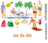summer  background. boat  party ... | Shutterstock . vector #1094380880