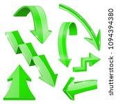green shiny 3d arrows. bent... | Shutterstock .eps vector #1094394380