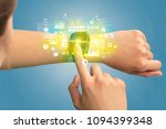 hand with smartwatch and health ... | Shutterstock . vector #1094399348