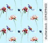 seamless pattern with spring... | Shutterstock . vector #1094399603