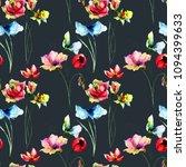 seamless wallpaper with wild... | Shutterstock . vector #1094399633