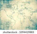 world map on a technological... | Shutterstock . vector #1094419883