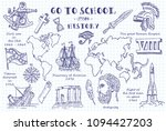 history. hand sketches on the... | Shutterstock .eps vector #1094427203