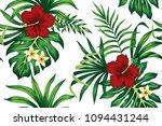 Tropical Red Hibiscus Plumeria...