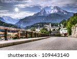 Berchtesgaden landscape and Watzmann mountain, Bavarian Alps, Germany - stock photo