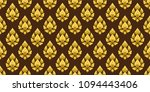 seamless of gold lotus thai... | Shutterstock .eps vector #1094443406