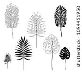 silhouettes of tropical leaves. ... | Shutterstock .eps vector #1094451950