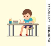 happy cute school boy writing... | Shutterstock .eps vector #1094464313