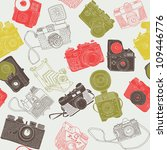 vintage photo cameras. seamless ... | Shutterstock .eps vector #109446776