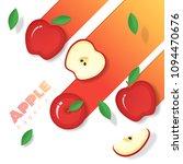 fresh red apple fruit...   Shutterstock .eps vector #1094470676