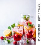 raspberry lemonade in glasses... | Shutterstock . vector #1094474198