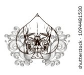 skull contour sketch for tattoo ... | Shutterstock .eps vector #1094481530