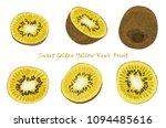 set of hand drawn yellow kiwi... | Shutterstock .eps vector #1094485616