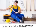 worker with injured hand at...   Shutterstock . vector #1094487350