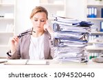 businesswoman very busy with...   Shutterstock . vector #1094520440