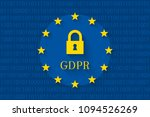 gdpr concept with lock and flag ... | Shutterstock .eps vector #1094526269