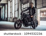 handsome bearded biker with...
