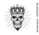 Skull Withe The Crown Isolated...