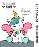 sleeping cute unicorn  vector... | Shutterstock .eps vector #1094538248