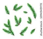 set of realistic evergreen pine ... | Shutterstock .eps vector #1094545970