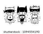 cartoon superheroes in black... | Shutterstock .eps vector #1094554190