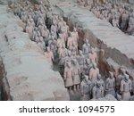 Terra Cotta Warriors Excavation:  Xian, China - stock photo