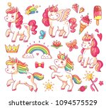 cute fairytale pink flying... | Shutterstock .eps vector #1094575529