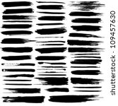 Vector set of grunge brush strokes