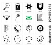 set of 16 simple editable icons ... | Shutterstock .eps vector #1094593598