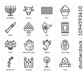 Set Of 16 simple editable icons such as Tefilin, Tree of Life, Synagogue, Budding Staff, Lion Judah, Ganesha, Henna painted hand, Temple, Praying Mat can be used for mobile, web UI