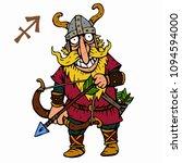 sagittarius. funny viking... | Shutterstock .eps vector #1094594000