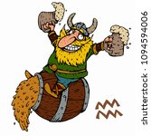 aquarius. funny viking zodiac... | Shutterstock .eps vector #1094594006